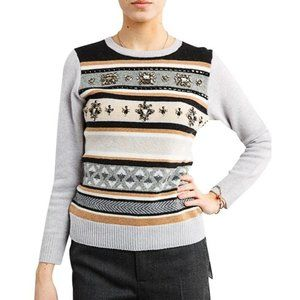 JCREW Jeweled Fair Isle Striped Wool Sweater L